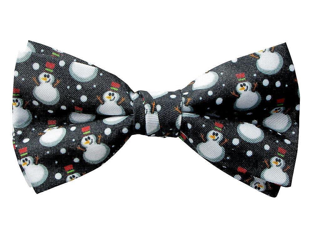 Spring Notion Men's Printed Microfiber Christmas Theme Pretied Bow Tie Black Snowman CLN1325-SNS-1325.BKS