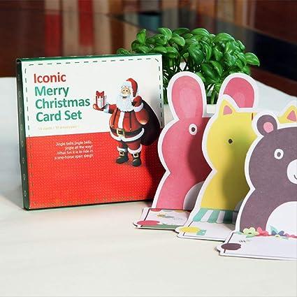 1 Juego Tarjeta De Navidad Creativo Dibujos Animados ...