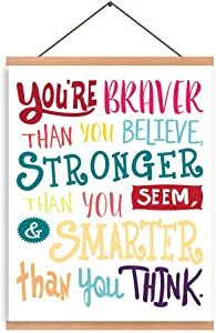 CHDITB Colorful Letterings Quote Art Print Magnetic Natural Wood Hanger Frame Poster Inspirational Alphabet Braver Stronger,Canvas Motivational Lettering 28X45cm Wall Hanging Printing Colorful Fonts Perfect For Kids Room Nursery Wall Decor