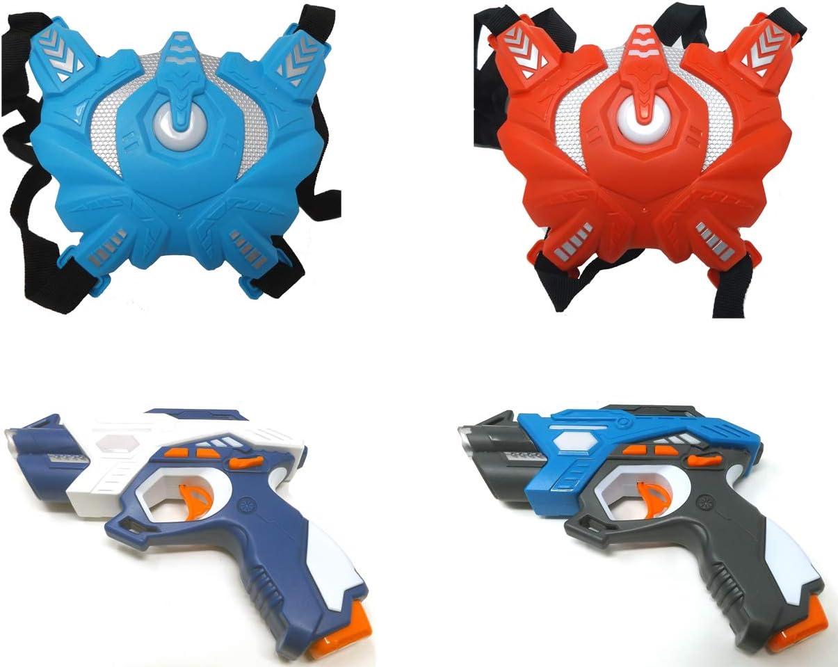 Brigamo Laser Tag - Juego de 2 Pistolas láser y 2 Chalecos de Sensor para niños y Adultos