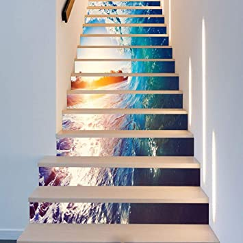 CAI Stereo 3D en casa escalera pegatinas Ondas Forma Creativa Escaleras Decoración Mar del paisaje etiquetas Tamaño,(100 * 18 cm * 13pcs): Amazon.es: Bricolaje y herramientas