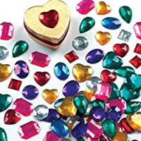Baker Ross Self-Adhesive Acrylic Jewels Assorted Designs and Sizes for Collage, Card Making, Children's Arts & Crafts