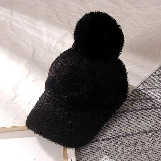 Faux Mane Hat Hembra Color sólido Grueso cálido cálido Gorra de ...