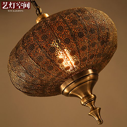 Leihongthebox Sepia Restaurant Pendant Ceiling Lighting oriental India Southeast Asia, even the silver-eup metal Lamps lanterns Pendant Ceiling Lighting, diameter 360mm450mm