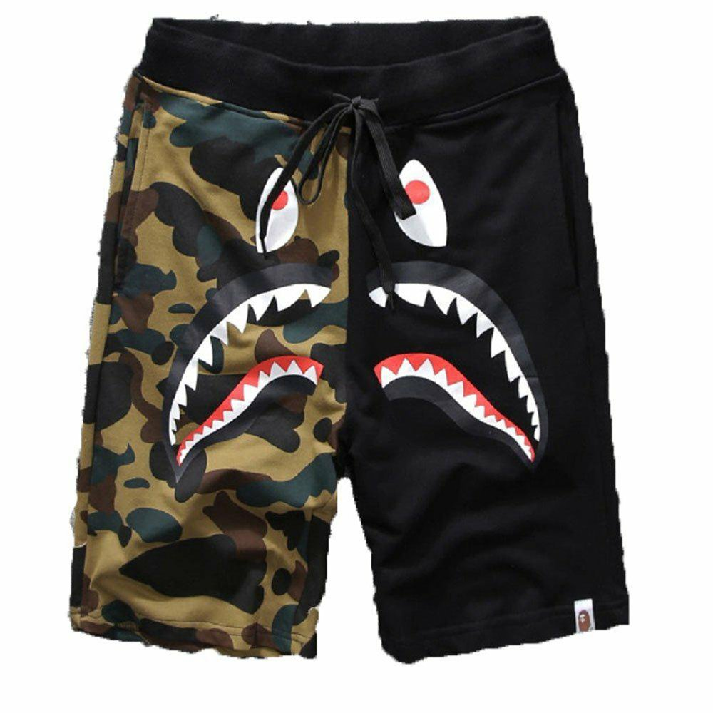Pants Pattern Camouflage Stitching Shorts Men Drawstring Sports Shorts