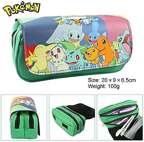 Estuche para lápices de Pokémon para niños Craze UK Greeen con dos compartimentos: Amazon.es: Oficina y papelería
