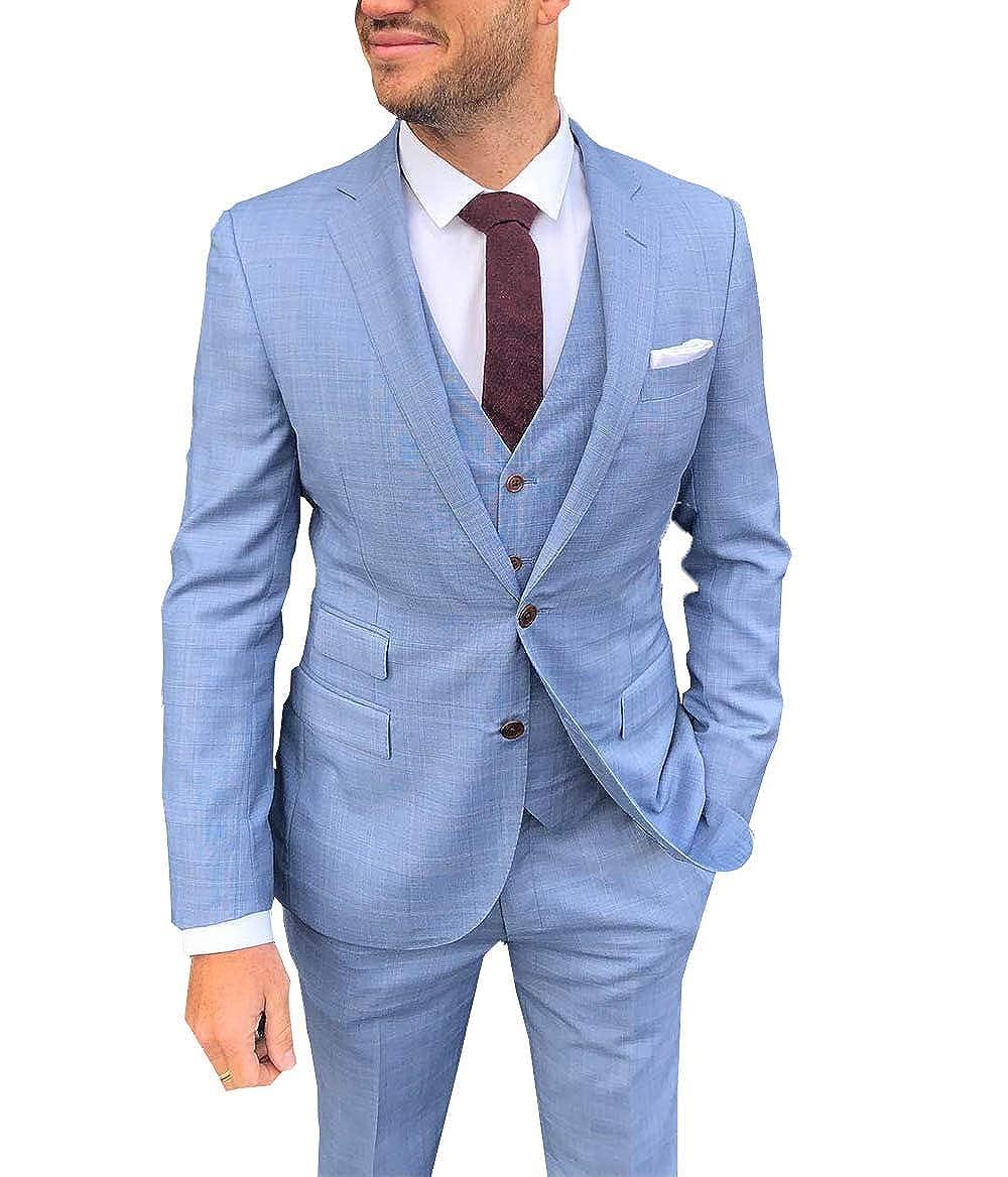 4a0a4363e98836 Men's Suit 3 Pieces Formal Notch Lapel Business Suit Groomsmen Tuxedos for  Wedding(Blazer+Vest+Pants)(44, Sky Blue) at Amazon Men's Clothing store: