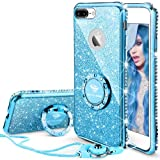 Cute iPhone 8 Plus Case for Girls, iPhone 7 Plus Case for Girls, Glitter Bling Diamond Rhinestone Bumper With Ring Kickstand Sparkly Apple iPhone 8 Plus/7 Plus Phone Case for Women Girl - Blue