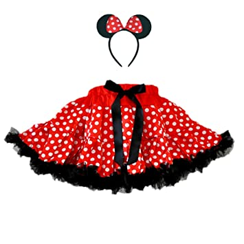 Amazon.com: Red/White Polka Dots Mouse Costumes 2 Layers Skirt w ...