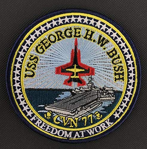 USS George H.W.Bush CVN 77 Military Patch Fabric Embroidered Badges Patch Tactical Stickers for Clothes with Hook & Loop ()
