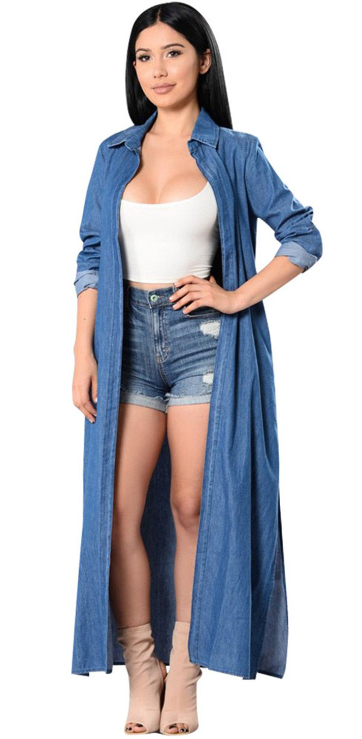 Fashion Open Front Long Sleeve Longline Long Maxi Denim Jean Cover Up Blouse Shirt Duster Trench Coat Top Blue XL