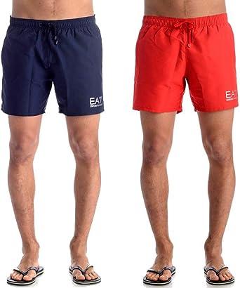Emporio Armani Ea7 Natación Pantalones Cortos De Hombres, Azul Marino/plata Grandes