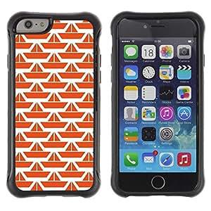 LASTONE PHONE CASE / Suave Silicona Caso Carcasa de Caucho Funda para Apple Iphone 6 PLUS 5.5 / Pattern Orange White Ship Clean