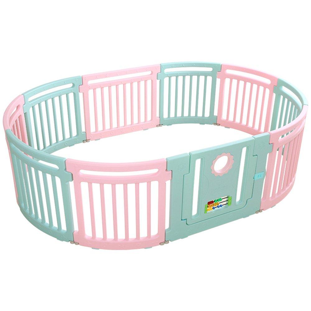 DD ベビー&マタニティ/ベビー布団寝具/ベッドガードフェンス, 調節可能なプラスチック製ベビープレイパネル(アクティビティパネル付き)安定した耐久性のある屋内プレイフェンス -子供を守る (色 : Green+Pink, サイズ さいず : 8+2) 8+2 Green+Pink B07Q11PQJ5