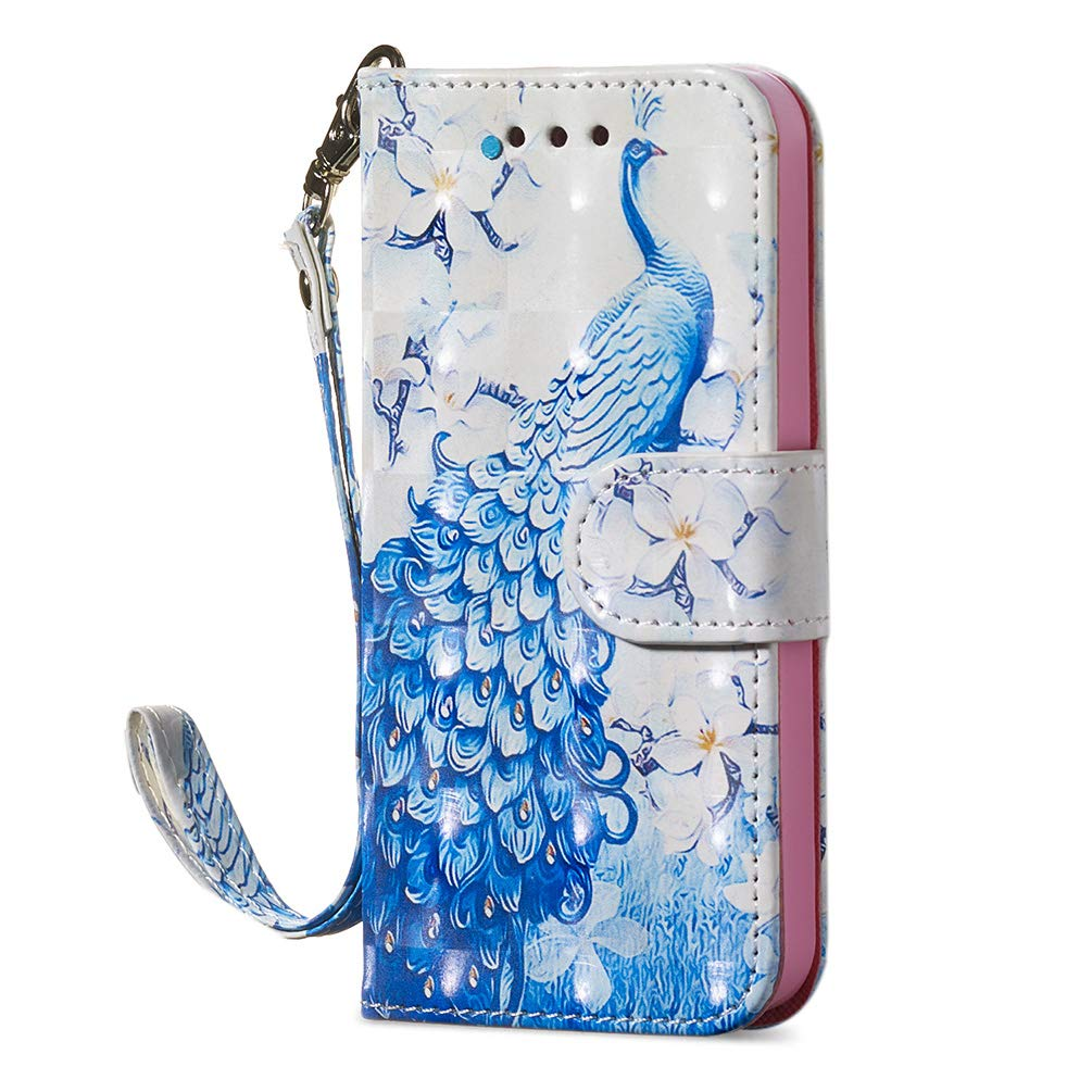 Mixpring iPhone 5 Phone Case, iPhone 5S Case, iPhone SE Cover, 3D PU Leather Wallet Cases with Creative Stickers Magnetic Folio Flip Cover with Card Holders Wrist Strap 360 Full Protection Flamingo