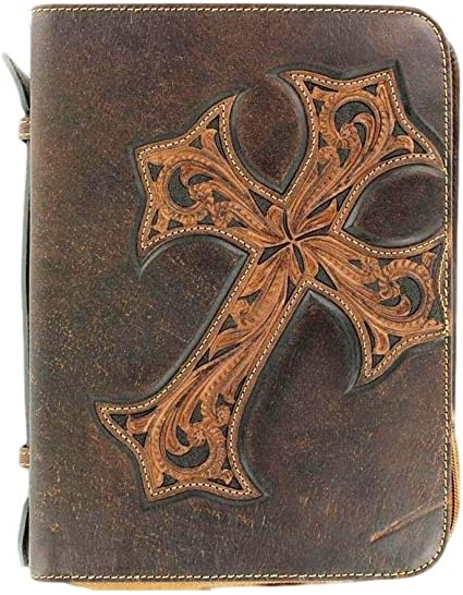 Nocona Western Bible Leather Case Cover Praying Cowboy Zippered Brown 0650608