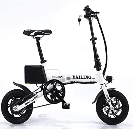 FJW Unisex Electric Bike 36V 250W Lithium Battery Ebike 14 inch Folding Bike Hybrid with Disc Brakes for Commuter City,White
