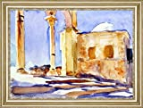 "Jerusalem also known as View of a Building and a Colonnaded Arcade at the Dome of the Rock, Jerusalem by John Singer Sargent - 16"" x 21"" Framed Premium Canvas Print"