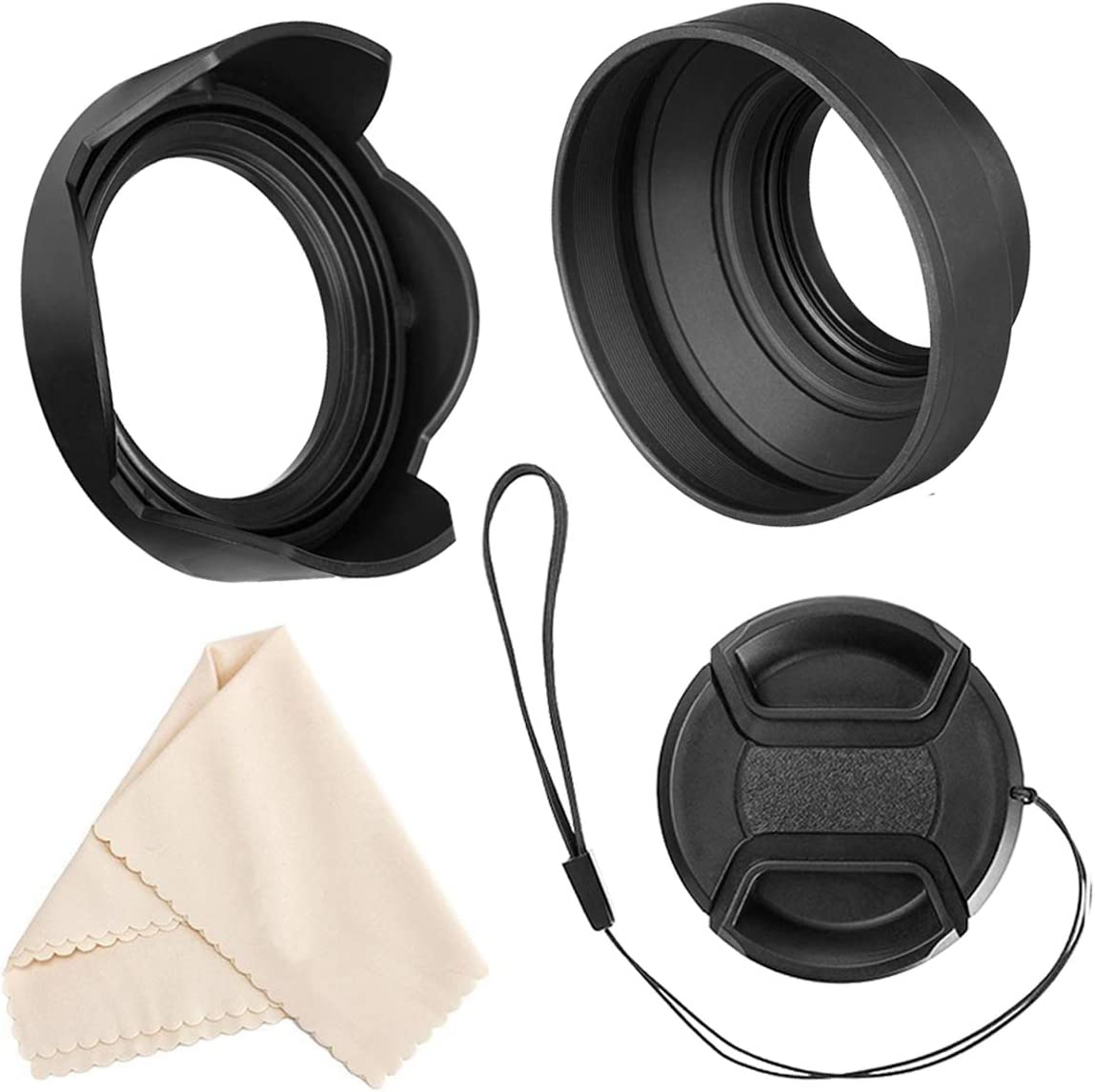 Veatree 72mm Lens Hood Set, Collapsible Rubber Lens Hood with Filter Thread + Reversible Tulip Flower Lens Hood + Center Pinch Lens Cap + Microfiber Lens Cleaning Cloth