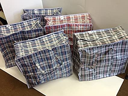Set of 5 Large EXTRA-WIDE Plastic Checkered Laundry Bags with Zipper u0026 Handles. & Amazon.com: Set of 5 Large EXTRA-WIDE Plastic Checkered Laundry Bags ...