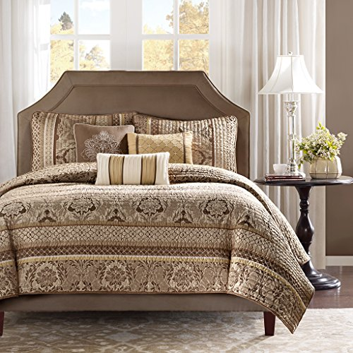 Madison Park Bellagio Full/Queen Size Quilt Bedding Set - Brown, Jacquard Damask – 6 Piece Bedding Quilt Coverlets – Faux Silk Bed Quilts Quilted ()