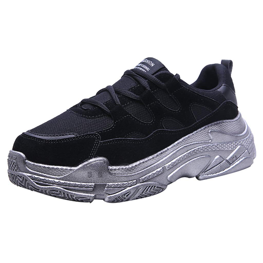 GINELO Woen Fashion Mesh Casual Color Matching Low-Top Student Shoes Breathable Running Jogging Sneakers Black by GINELO