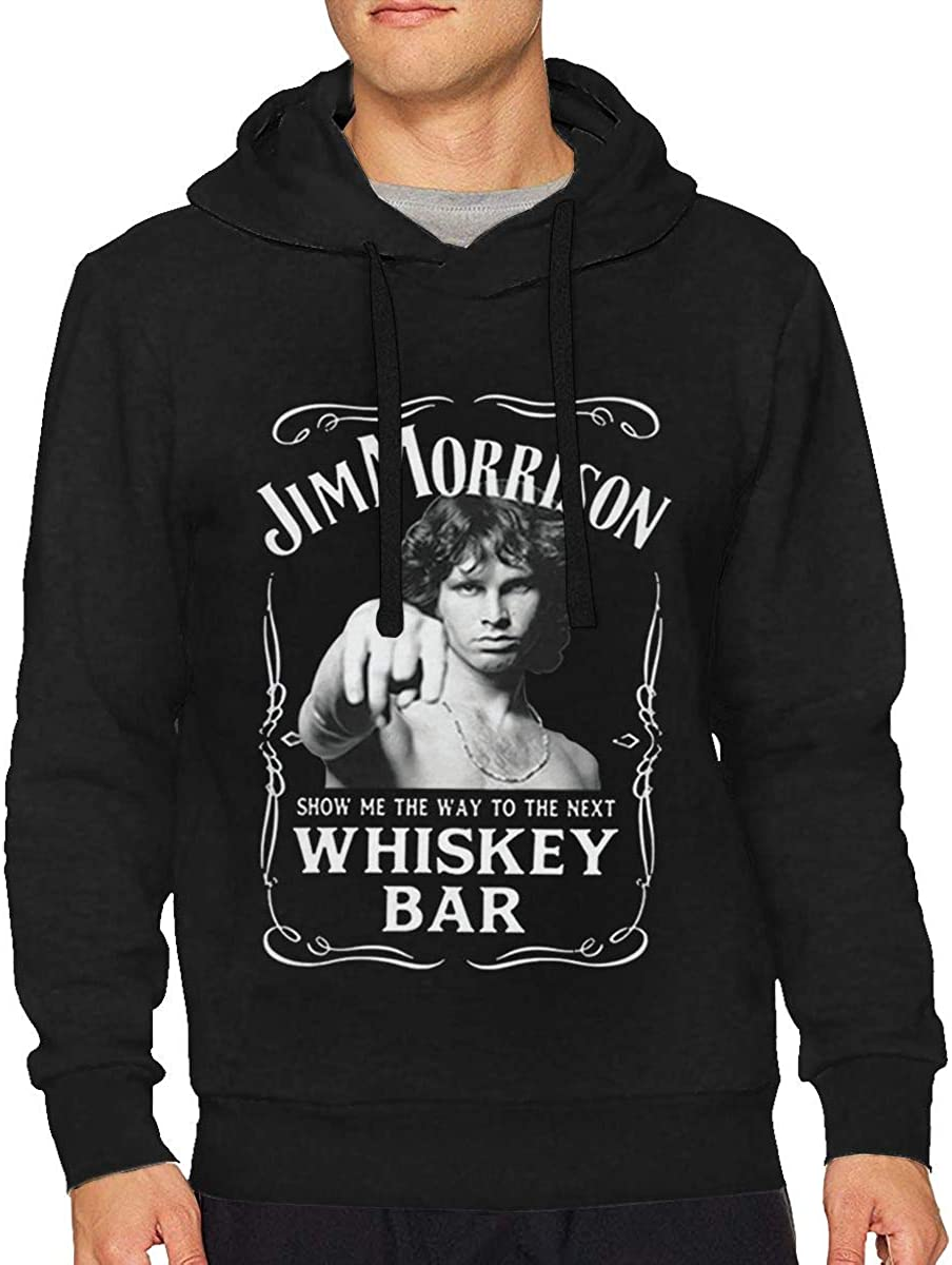 Mens Jim Morrison Show Me The Way to Next Whiskey Bar Doors Logo Long Sleeve Hooded Sweat Shirt Pullover