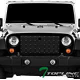 Amazon tuff stuff led light bar 12 mesh grille shell jeep topline autopart glossy black rvt rivet bolt mesh front hood bumper grill grille steel with abs mozeypictures Gallery