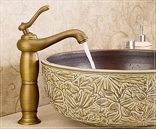 盆地の蛇口、銅のホットとコールドシングルホールモノブロックの蛇口、ヨーロッパのレトロクラシックタップ、バスルームシンクの蛇口 洗面器の蛇口 (Size : Tall)