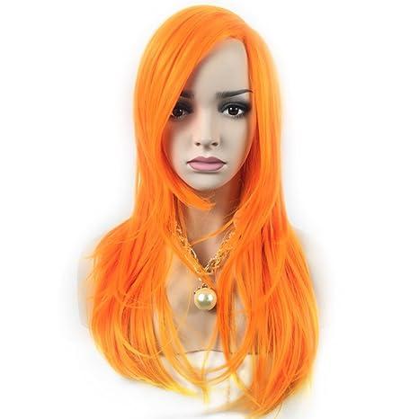 Ferrell 65 cm eurameri Can Mujeres larga peluca de pelo rizado Completo pelucas Naranja Color Mujer