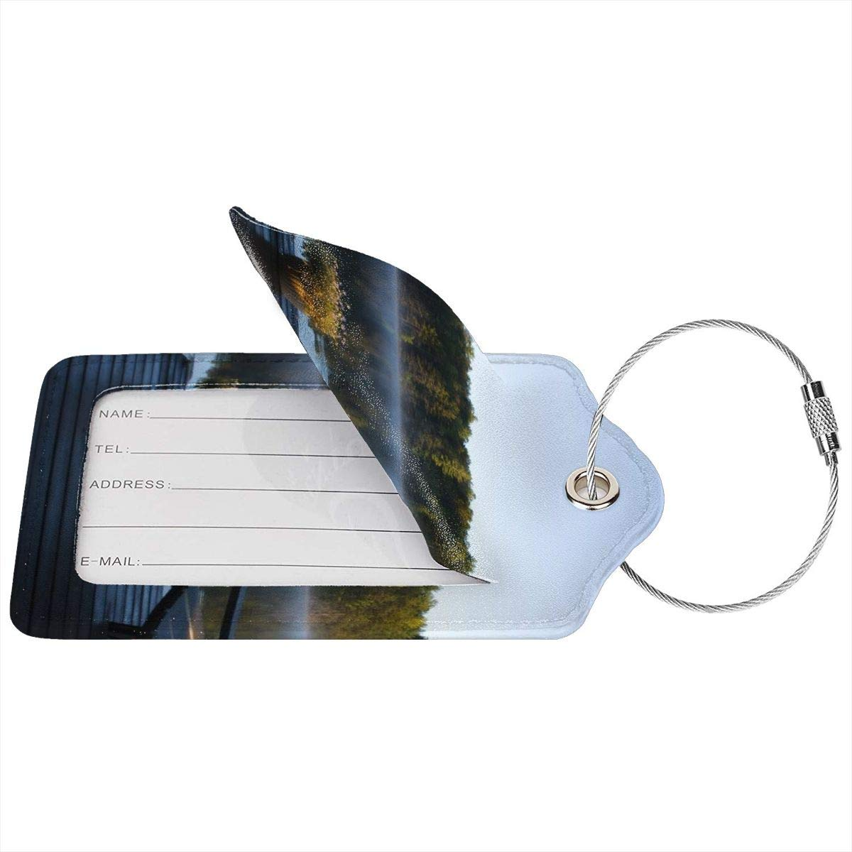 Morning View At Weslemkoon Lake Luggage Tag Label Travel Bag Label With Privacy Cover Luggage Tag Leather Personalized Suitcase Tag Travel Accessories