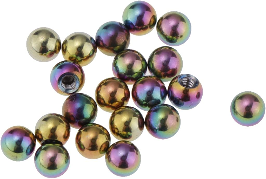 Homyl 20 Piece Wholesale Stainless Steel 4mm Body Jewelry Balls 14 Gauge Barbell Body Jewelry Replace Ball Closure