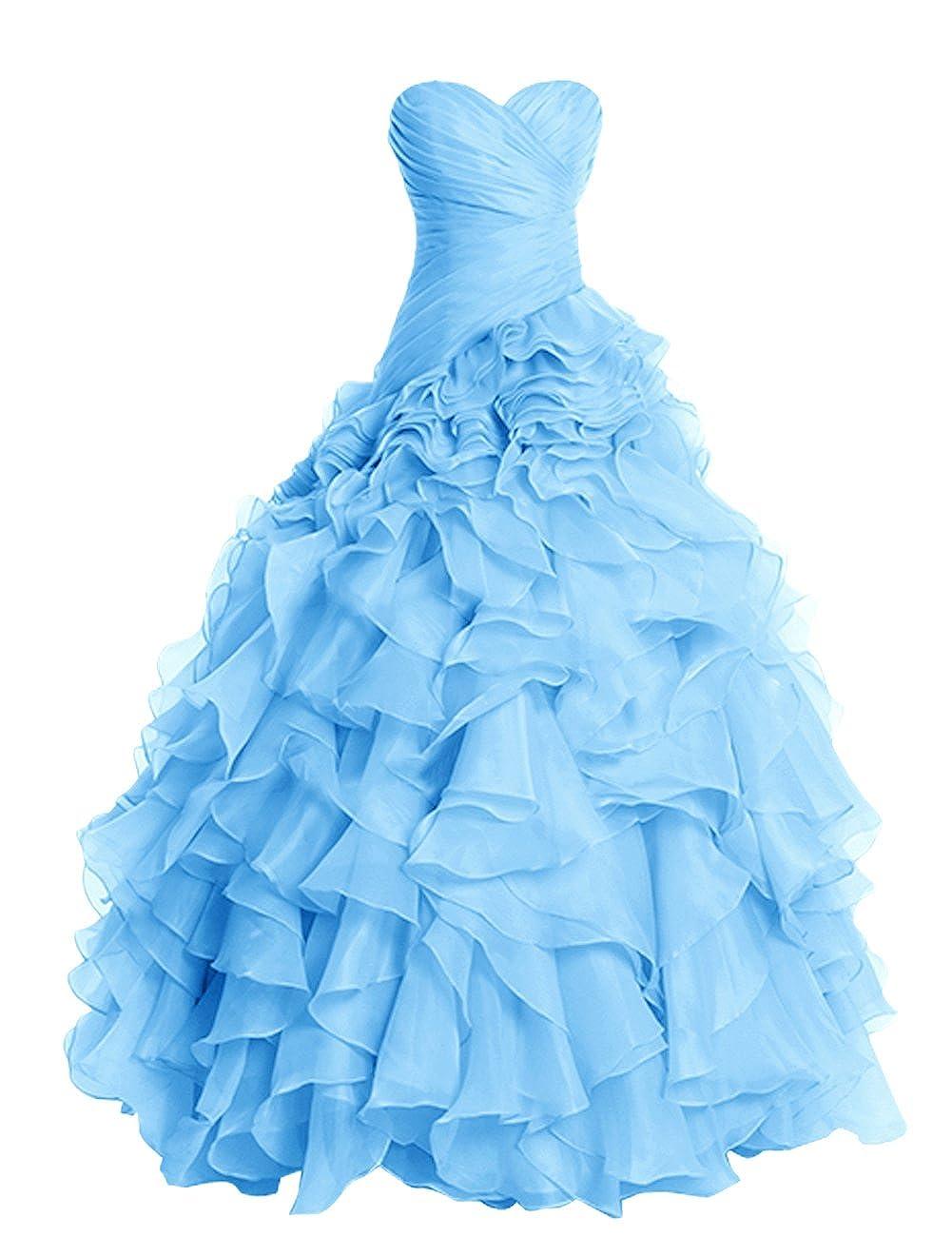 bluee Dresstells® Long Prom Dress Fluffy Bridesmaid Dress Wedding Dress with Ruffles