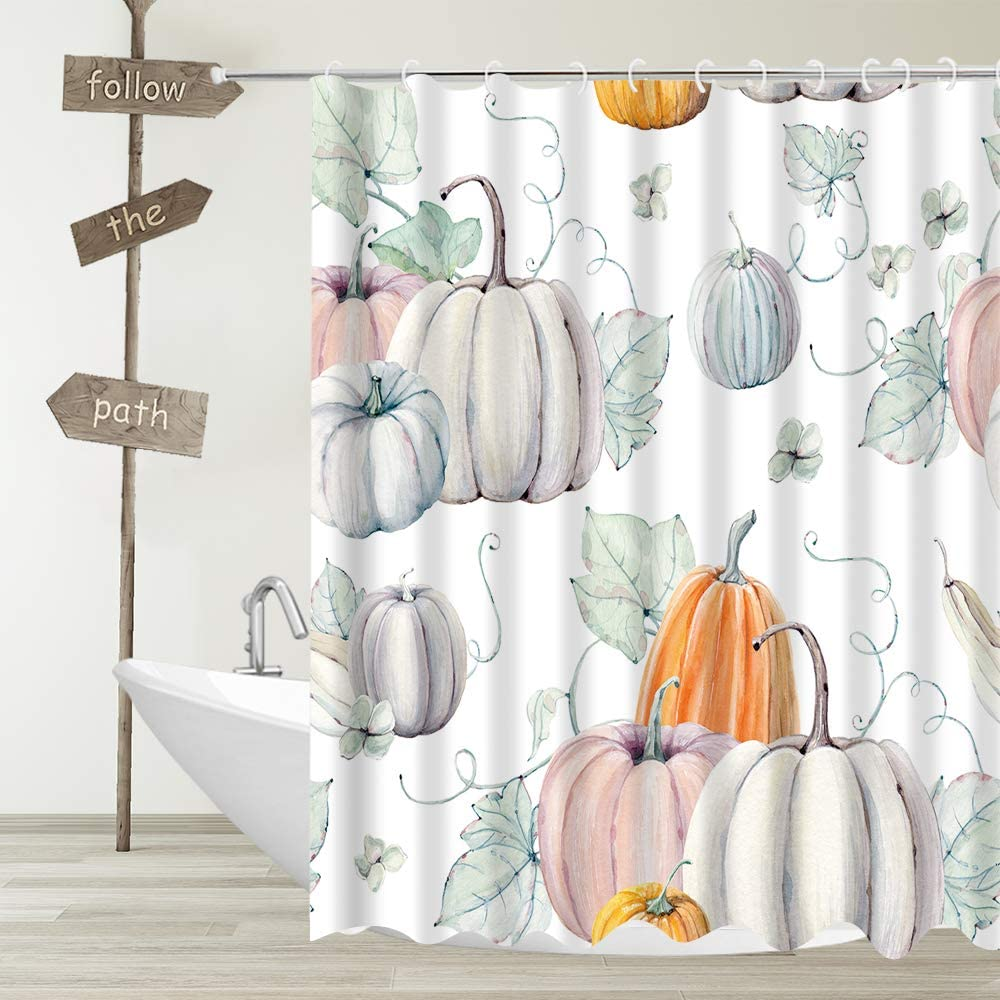Autumn Pumpkin Fabric Shower Curtain Watercolor Fall Pumpkins for Thanksgiving Halloween Decor Bathroom Curtains,Waterproof Polyester Bath Curtain Set with Hooks 70x70 Inch