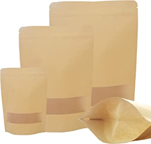 75 Pack Stand Up Pouch Bags Kraft, 3 Size Kraft Stand Up Pouches with Window, 3.5 x 5.5 Inch/5.9 x 8.6 Inch/7 x 10 Inch Kraft Paper Bags Ziplock, Kraft Bags Sealable, Kraft Zip Lock Stand Up Bags