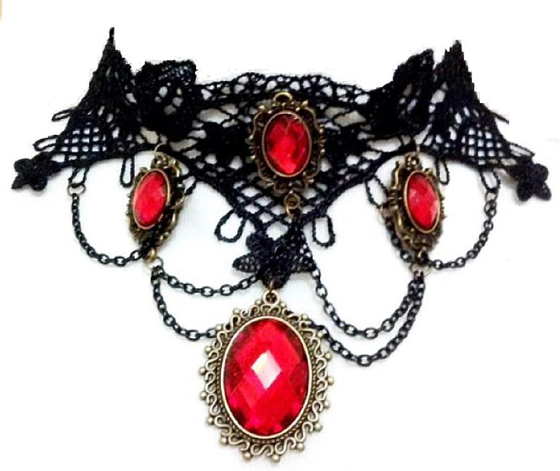 Collar de Encaje de macramé Mujer pie3 Rojo Gargantilla gótica Colgantes Negro Egipto