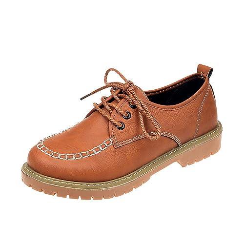 2018 Botas de Martain Mujer Cuero Plano con Cordones Botines de Tobillo Plano Zapatos de Informales Boots: Amazon.es: Zapatos y complementos