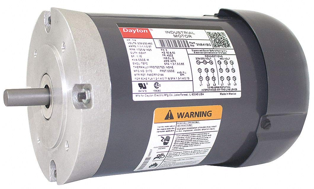 Dayton 3N841 Motor, 1/4 hp, C-Face, Degrees_Fahrenheit, to Volts, Amps, (