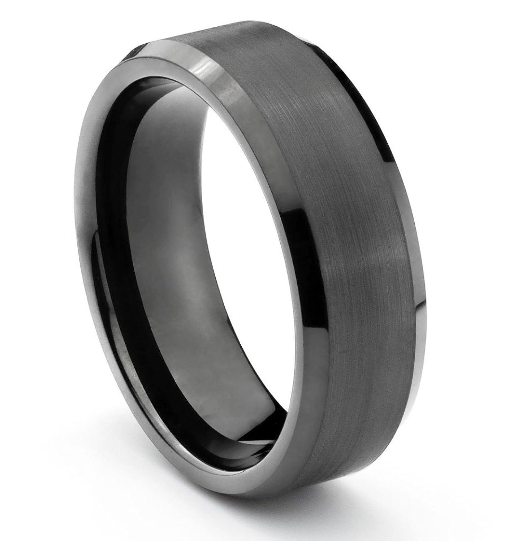 8mm tungsten carbide mens brushed black wedding band ring