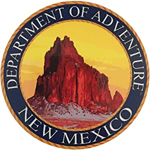 New Mexico State Seal Sticker Dept of Outdoor Adventure | NNM Ship Rock | Apply to Water Bottle Decal Laptop Computer Car Bumper Oval Magnet | Zia Flag ABQ 505 Area 51 Breaking Roswell Bad Taos
