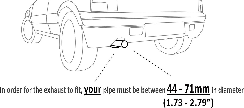 Universal 364D Punta de escape del coche Tubo extremo de ajuste Silenciador deportivo Acero inoxidable Cromo