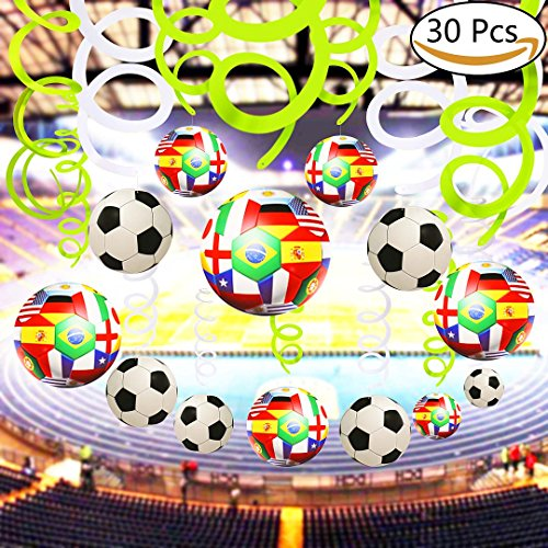 VAMEI 30PCs 2018 World Cup Soccer Foil Ceiling Hanging Swirl Decorations Spiral Streamers Home Bar Decoration Football Theme Supplies for Party Birthday Graduation Party by VAMEI