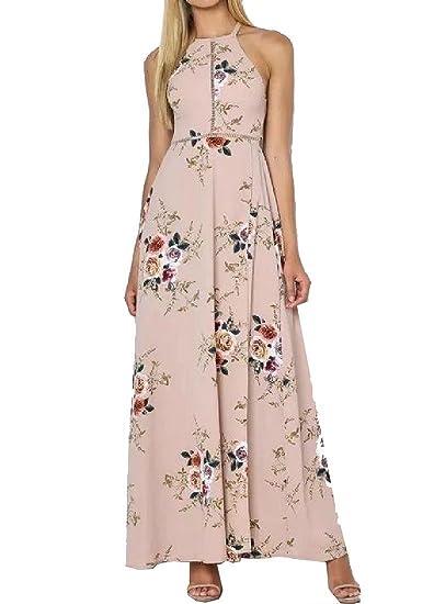 Summer Women Backless Halter Vogue Modern Sundress Beach Long Dress at Amazon Womens Clothing store: