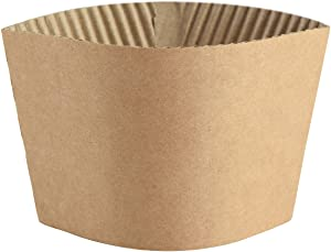 Coffee Sleeves - 500 count SPRINGPACK Disposable Corrugated Hot Cup Sleeves Jackets Holder - Kraft Paper Sleeves Protective Heat Insulation Drinks Insulated Fits 12,16,20,22,24 oz Coffee Cups (brown)