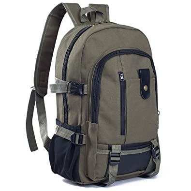 7afac1ba80a7 TianranRT Vintage Travel Canvas Leather Backpack Sport Rucksack Satchel  School Hiking Bag (Army Green)