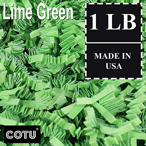 1 LB Lime Green Crinkle Shred Gift Basket Shred Crinkle Paper Filler Bedding by COTU (16 oz)