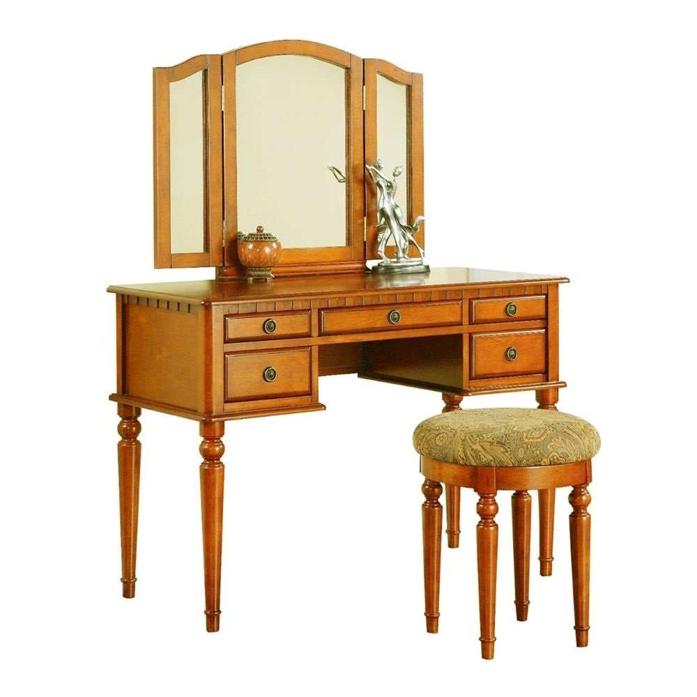NEW Light Wanut, Poundex Furniture Vanity Set with Stool Rubber Wood, Medium-Density Fibreboard, Birch Veneer