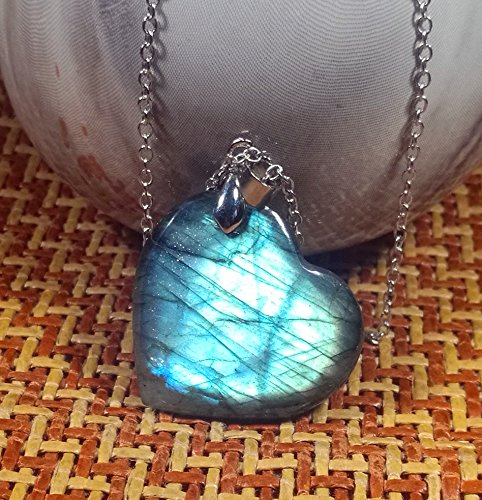 Mix-Stone 1 Pcs Beautiful Labradorite Heart Shape Pendant with Silver Chain, DIY for Necklace (L)