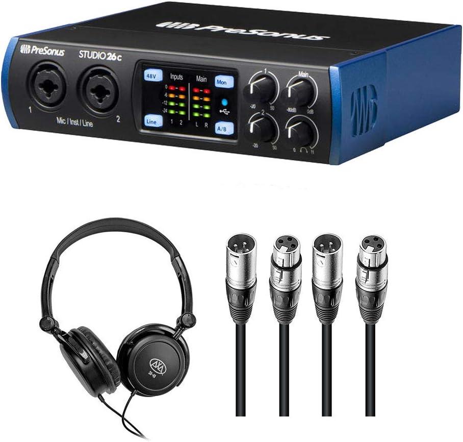 PreSonus Studio 26-2x4 192 kHz USB 2.0 Audio//MIDI Interface with R100 Stereo Headphones and 2x XLR Cable