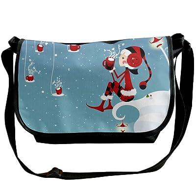 Unisex Wide Diagonal Shoulder Bag Christmas Girl Drink Tea Printed Casual Messenger Cross Body Bag Adjustable Shoulder Tote Bag